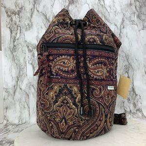 Sold Vera Bradley mocha paisley bucket bag RARE